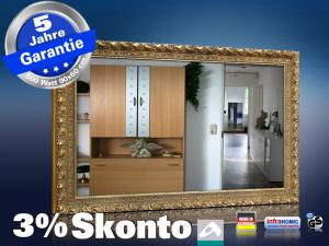 spiegelheizung 500 watt stilrahmen goldfarben. Black Bedroom Furniture Sets. Home Design Ideas
