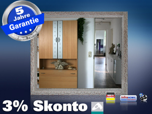 infrarot spiegelheizung 400 watt stilrahmen silber. Black Bedroom Furniture Sets. Home Design Ideas
