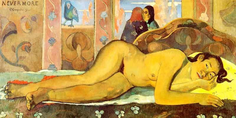 Gauguin: Nevermore Kunstmotiv für Infrarot Bildheizung 120x60