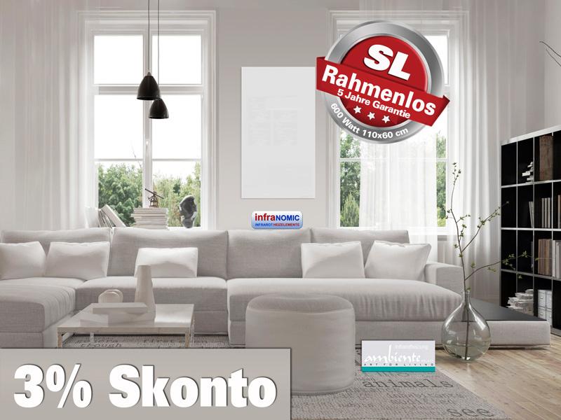 infrarotheizung rahmenlos 600 watt glas wei. Black Bedroom Furniture Sets. Home Design Ideas