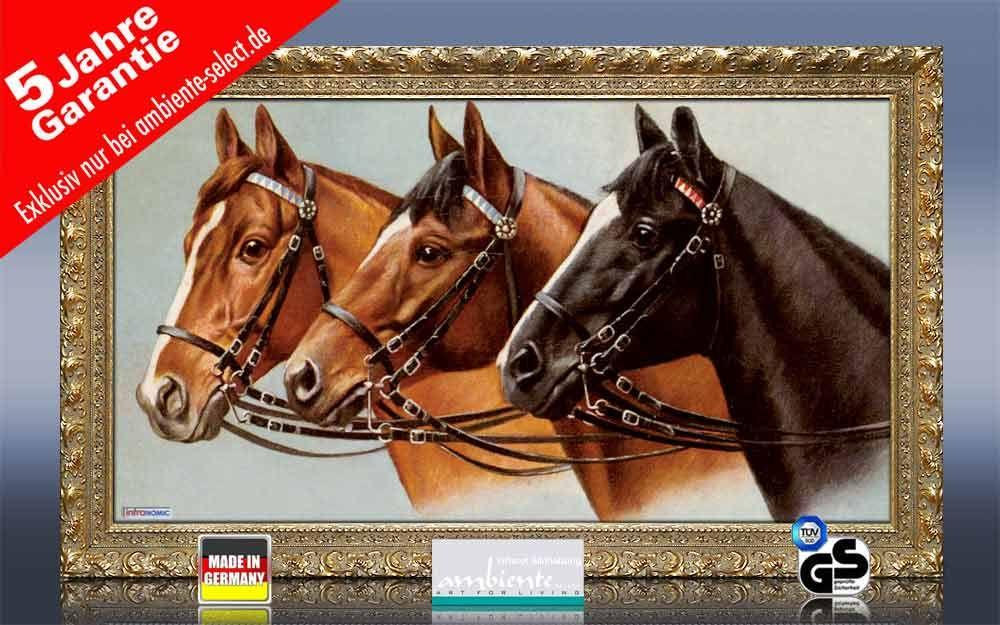 Infrarot Bildheizung 600 Watt 110x60 Stilrahmen StG Drei Pferde