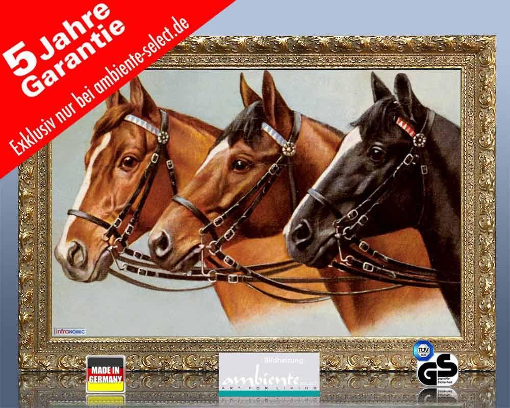 infrarot Bildheizung 500 Watt 90x60 Stilrahmen StG Drei Pferde