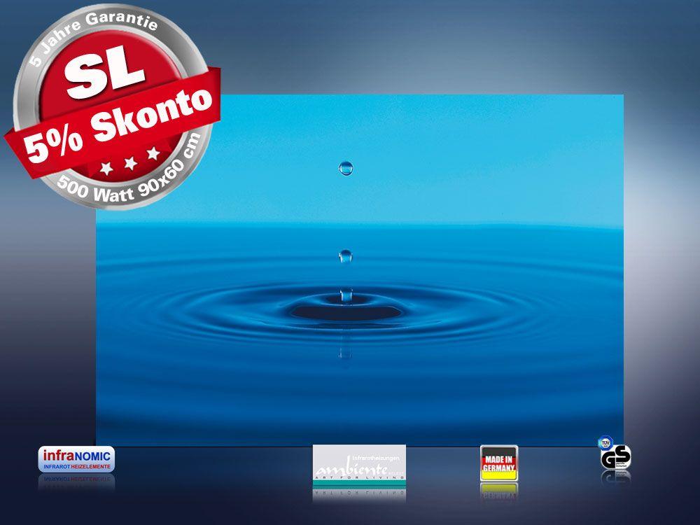 infrarot Bildheizung 500 Watt Rahmenlos slim-line 90x60 Wassertropfen