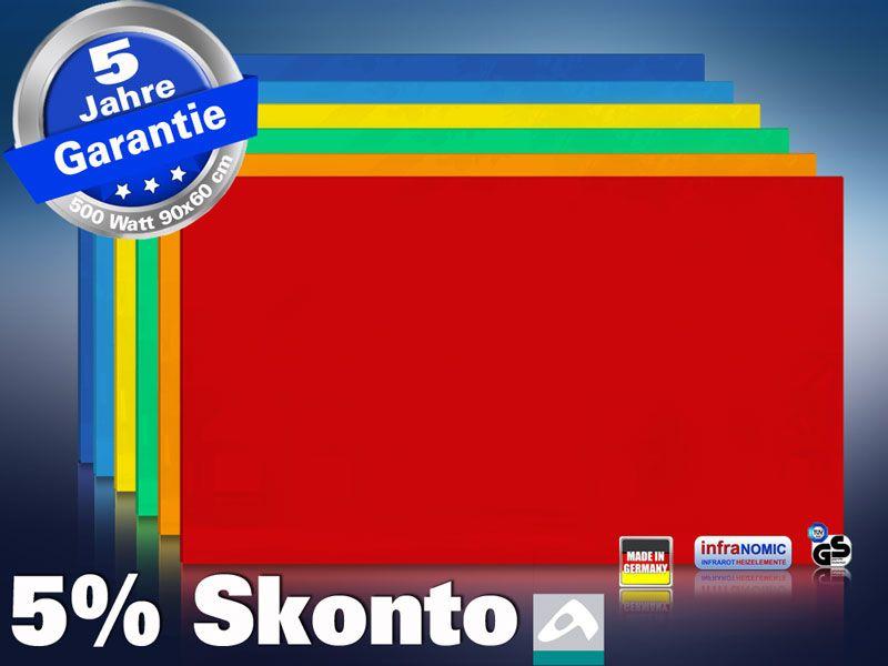 Farbige Infrarotheizung slim-line Rahmenlos 400 bis 900 Watt rot