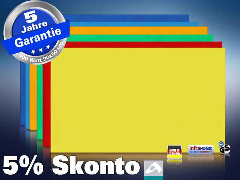 Farbige Infrarotheizung slim-line Rahmenlos 400 bis 900 Watt gelb
