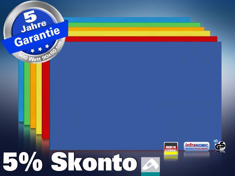 Farbige Infrarotheizung slim-line Rahmenlos 400 bis 900 Watt blau
