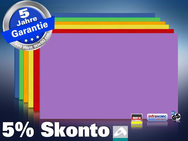 Farbige Infrarotheizung slim-line Rahmenlos 400 bis 900 Watt purpur