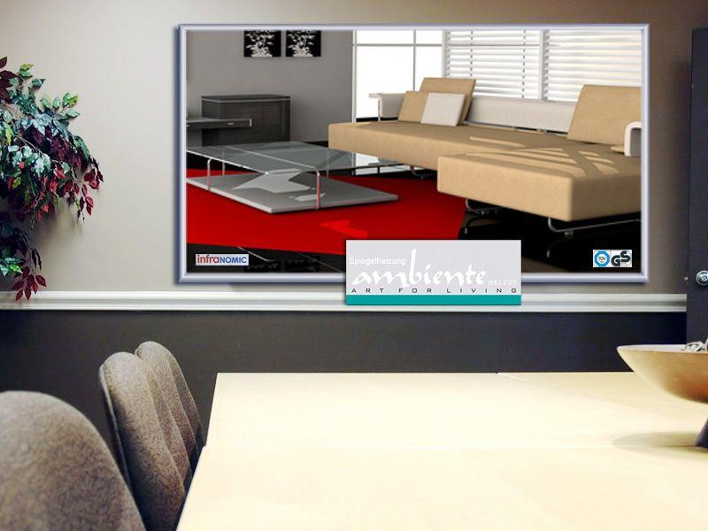 infrarot spiegelheizung 210 watt alurahmen m10. Black Bedroom Furniture Sets. Home Design Ideas