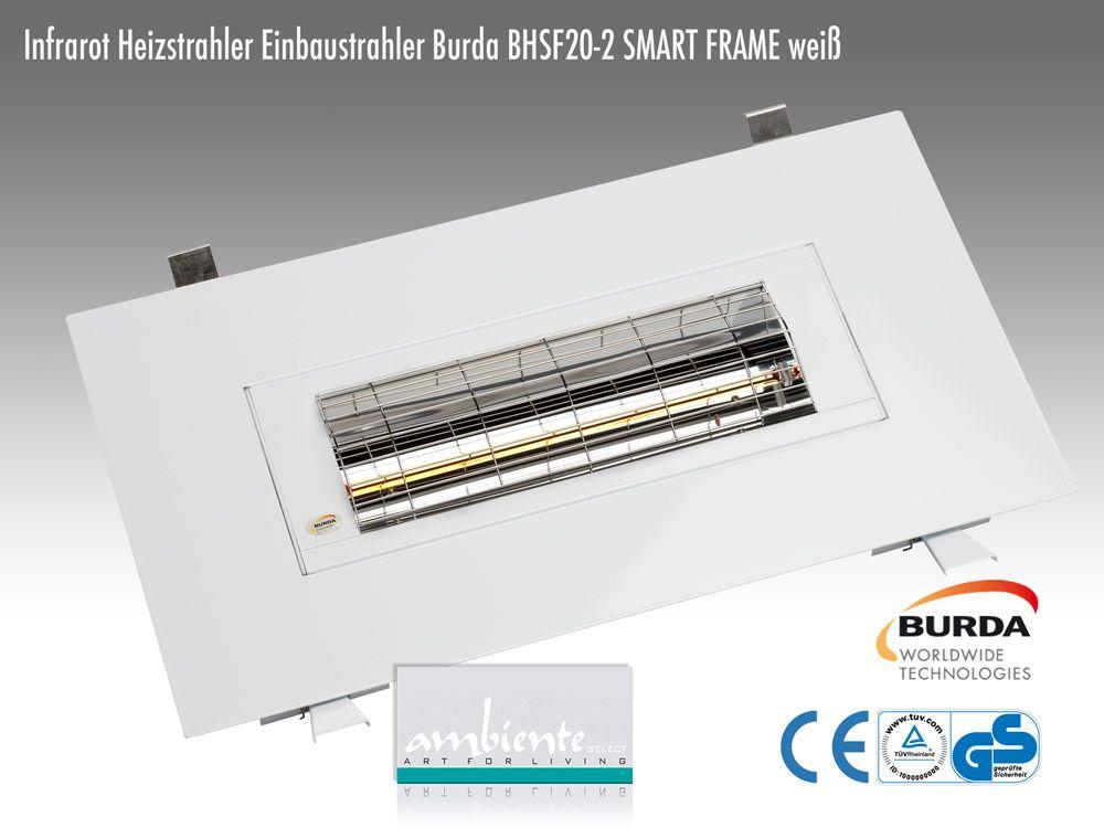 Burda Einbau Infrarot Heizstrahler Frame IP24 2,0 KW weiß BHSF20-2