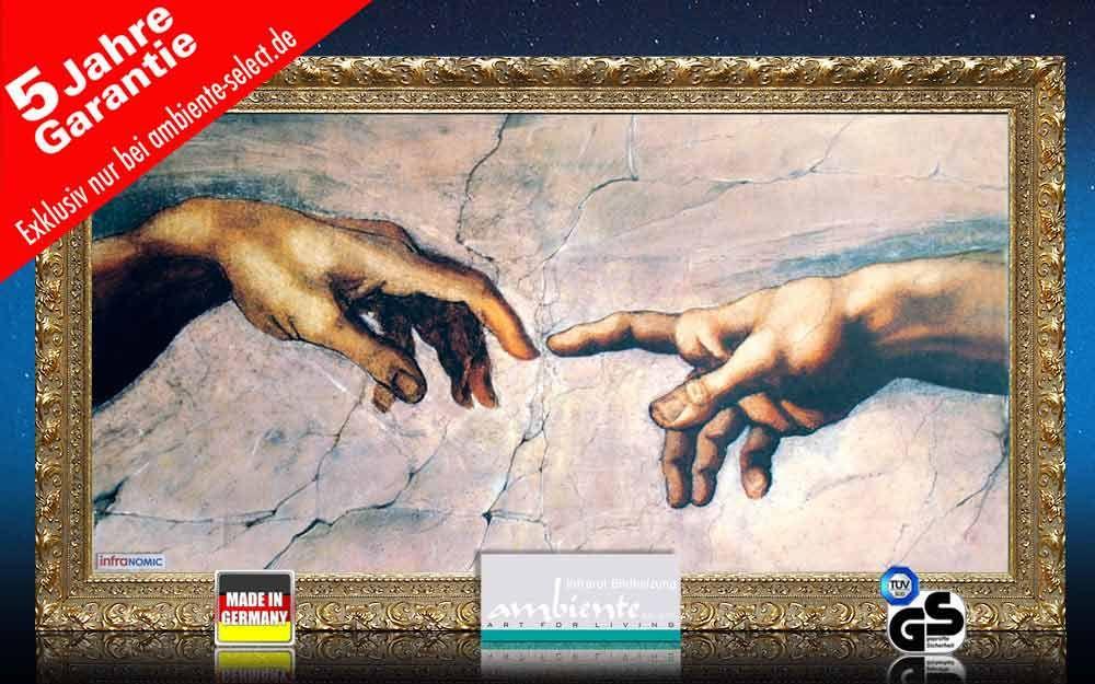 Infrarot Bildheizung Kunst 700 Watt 120x60 StG Erschaffung Adams
