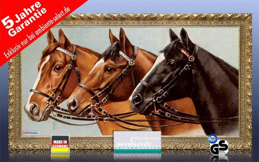 Infrarot Bildheizung Kunst 700 Watt 120x60 Stilrahmen StG Drei Pferde