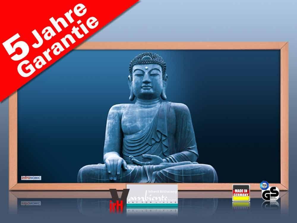 Infrarot Bildheizung 700 Watt 120x60 Holzrahmen HB30 Buddha blau