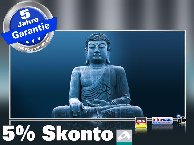 Infrarot Bildheizung 700 Watt 120x60 M10-SL Buddha blau