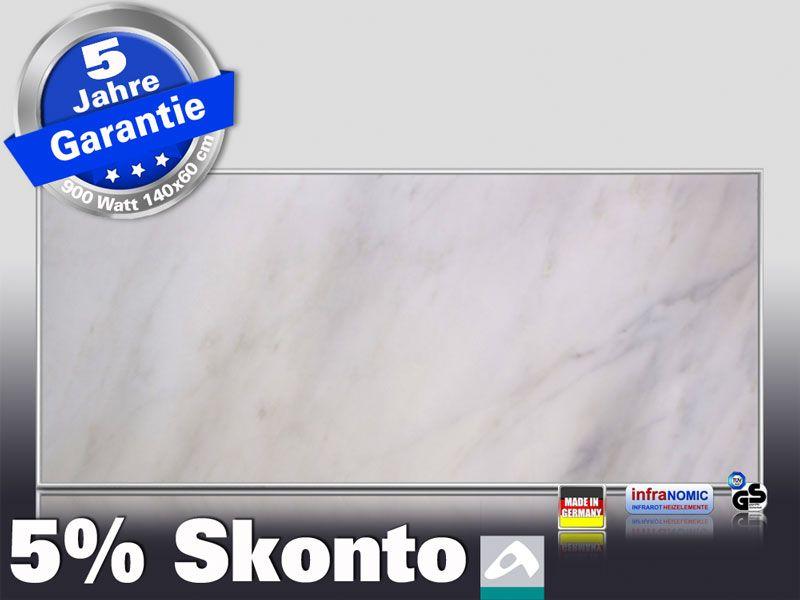 Infrarot Bildheizung 900 Watt 140x60 M10-SL Marmor weiß