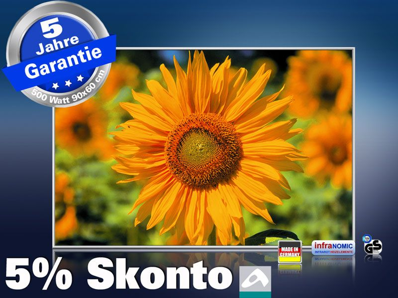 infrarot Bildheizung 500 Watt 90x60 M10-SL Sonnenblume