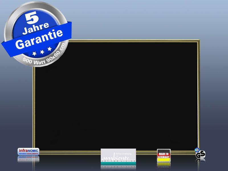 Infrarotheizung Glas schwarz 500 Watt 90x60 M10M
