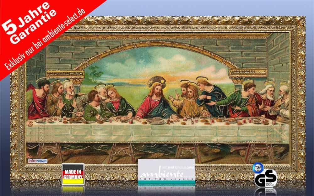 Infrarot Bildheizung Kunst 700 Watt 120x60 StG Abendmahl PK