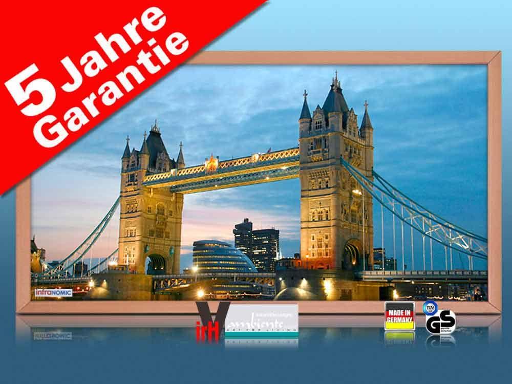 Infrarot Bildheizung 600 Watt 110x60 Holzrahmen HB30 Tower Bridge