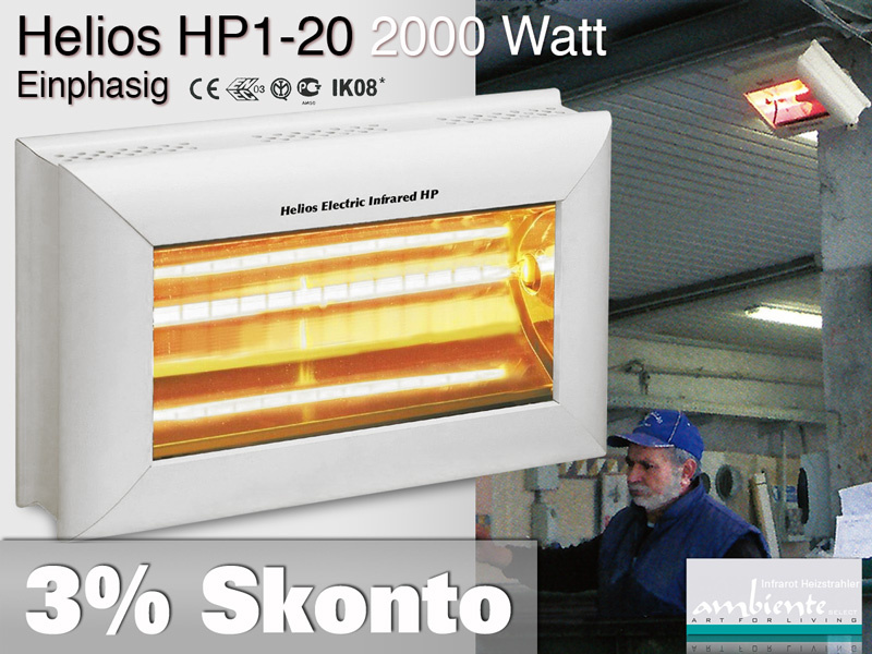 High Power Infrarot Wärmestrahler Helios HP1-20 IP20 2000 Watt