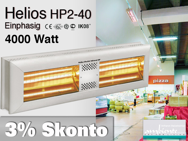 High Power Infrarot Wärmestrahler Helios HP2-40 IP20 4000 Watt