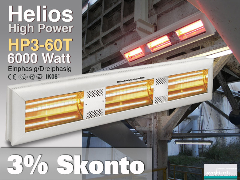 High Power Infrarot Wärmestrahler Helios HP3-60T IP20 6000 Watt