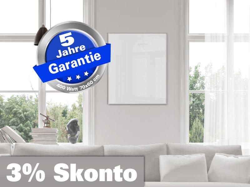 Infrarotheizung Glas weiß Spiegelheizung Bad 400 Watt 70x60 M10