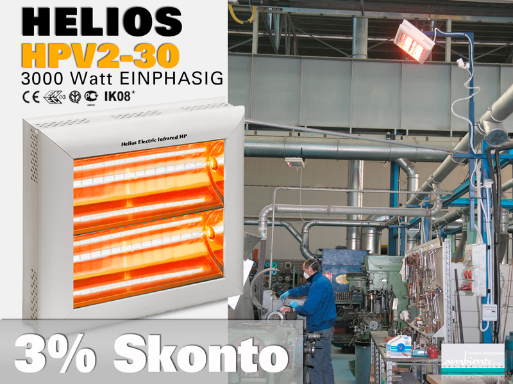 High Power Infrarot Wärmestrahler Helios HP2V-30 IP20 3000 Watt