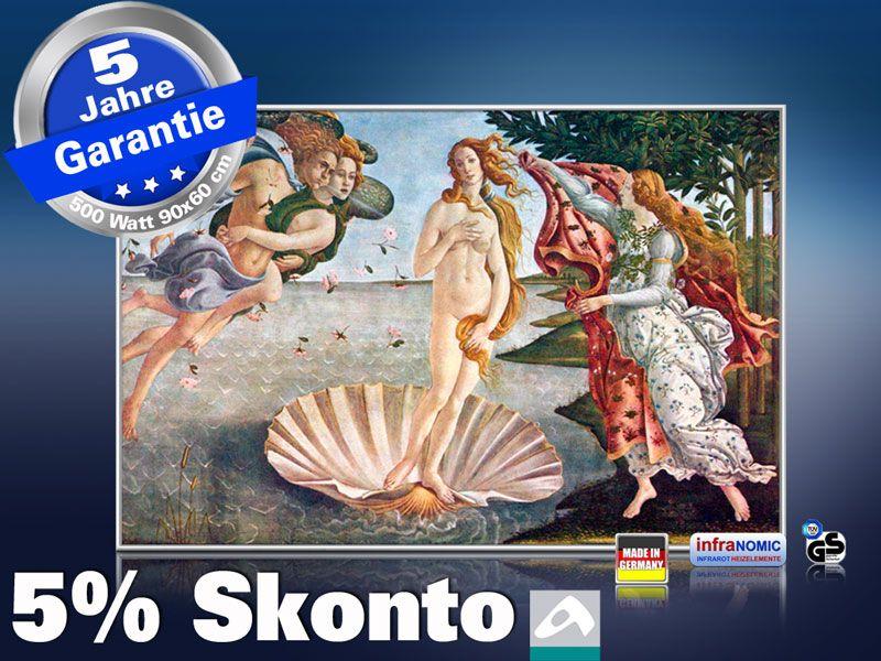 Infrarot Bildheizung Kunst 500 Watt 90x60 M10-SL Geburt der Venus