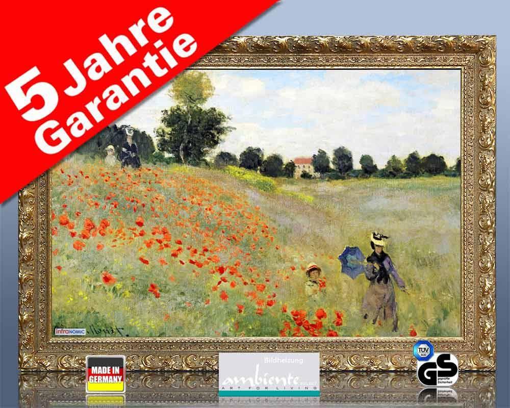 Infrarot Bildheizung Kunst 500 Watt 90x60 StG Klatschmohn (Monet)