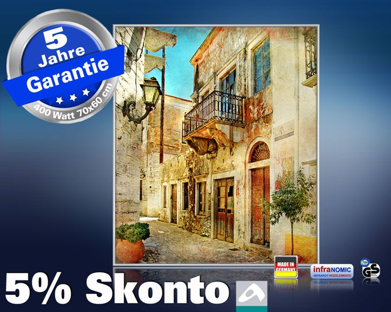 Infrarot Bildheizung 400 Watt 70x60 M10-SL street in greece