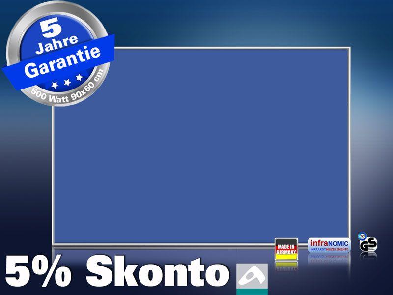 Infrarotheizung farbig 500 Watt 90x60 M10-SL RAL Verkehrsblau