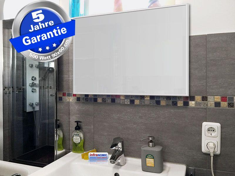 Infrarotheizung Glas weiß, Spiegelheizung Bad 500 Watt 90x60 M10W