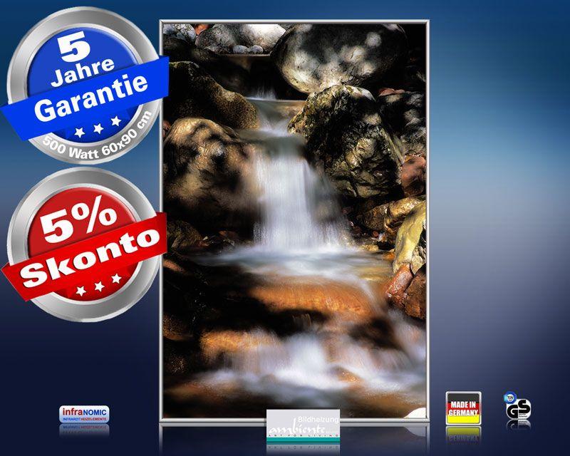 Infrarot Bildheizung 500 Watt 90x60 M10-SL Wasserfall HF