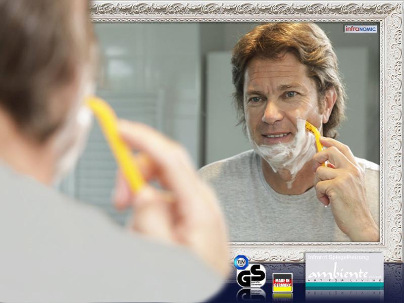 spiegelheizung 700 watt stilrahmen antik wei. Black Bedroom Furniture Sets. Home Design Ideas
