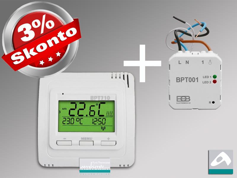 Funk-Thermostat Set BT710 Sender mit BT001 Unterputz Empfänger
