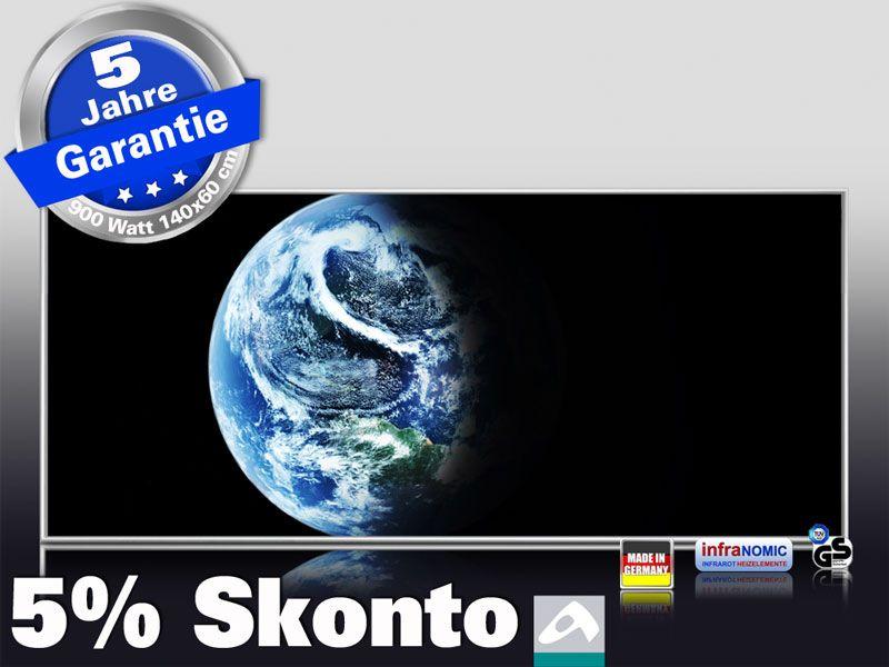 Infrarot Bildheizung 900 Watt 140x60 M10-SL Planet Erde