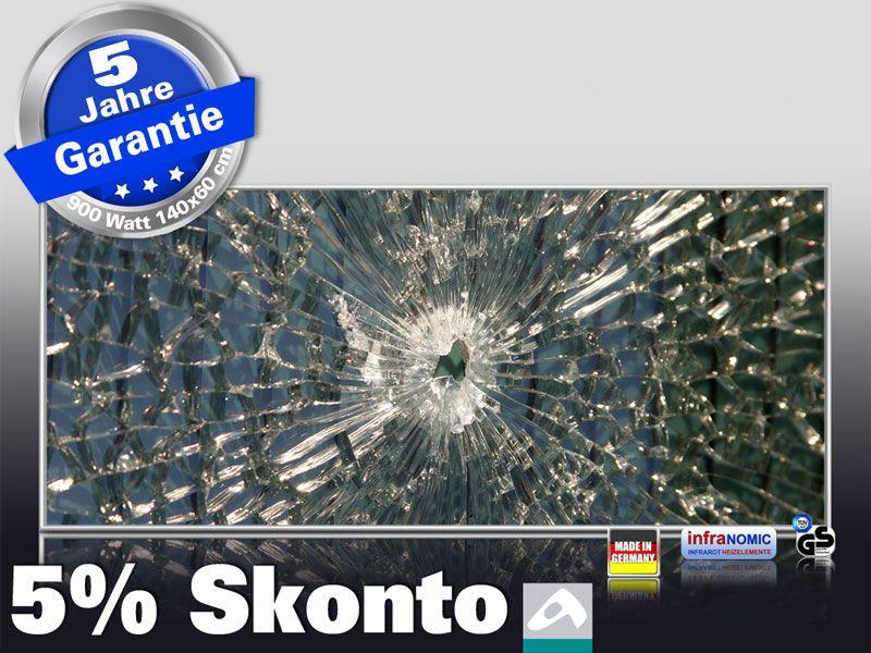 Infrarot Bildheizung 900 Watt 140x60 M10-SL Glas mit Loch