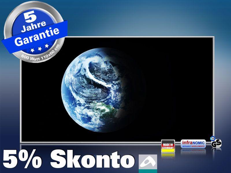 Infrarot Bildheizung 600 Watt 110x60 M10-SL Planet Erde