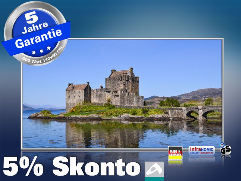 Infrarot Bildheizung 600 Watt 110x60 M10-SL Eilean Donan Castle