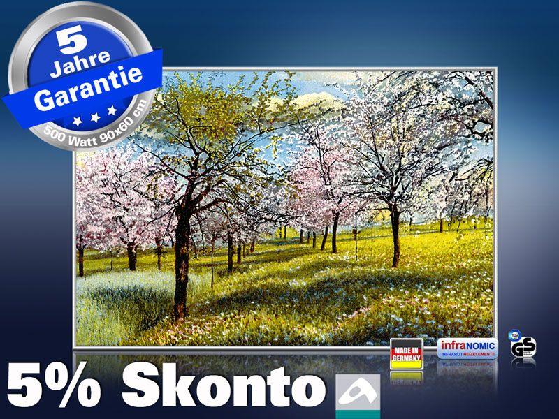 Infrarot Bildheizung Kunst 500 Watt 90x60 M10-SL Baumblüte