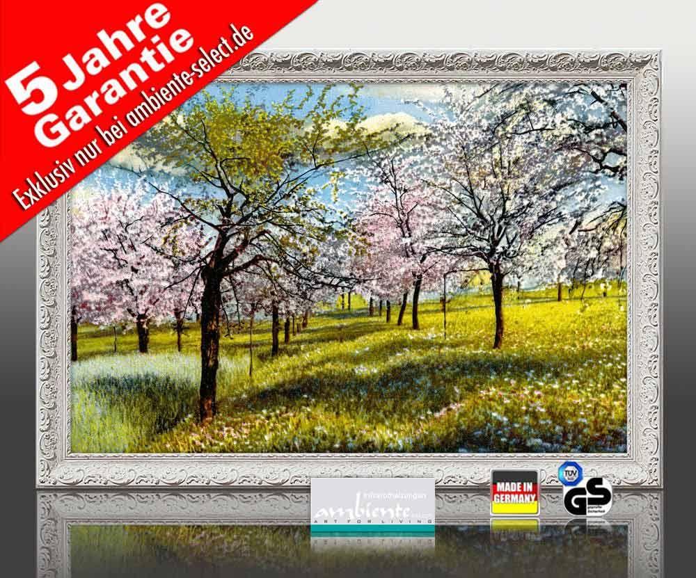 Infrarot Bildheizung 500 Watt 90x60 Stilrahmen StAw Baumblüte