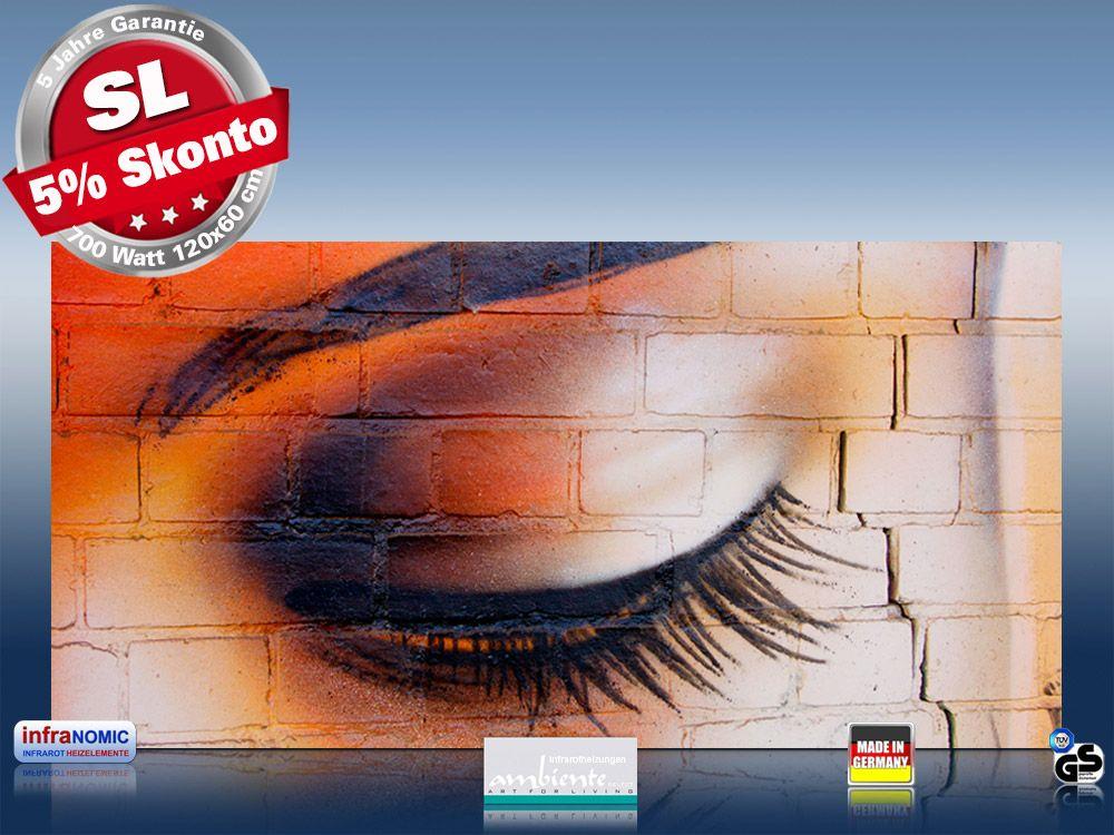Infrarot Bildheizung 700 Watt Rahmenlos slim-line 120x60 Auge