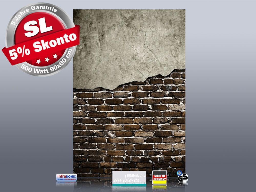 Infrarot Bildheizung 500 Watt Rahmenlos slim-line 90x60 Wand