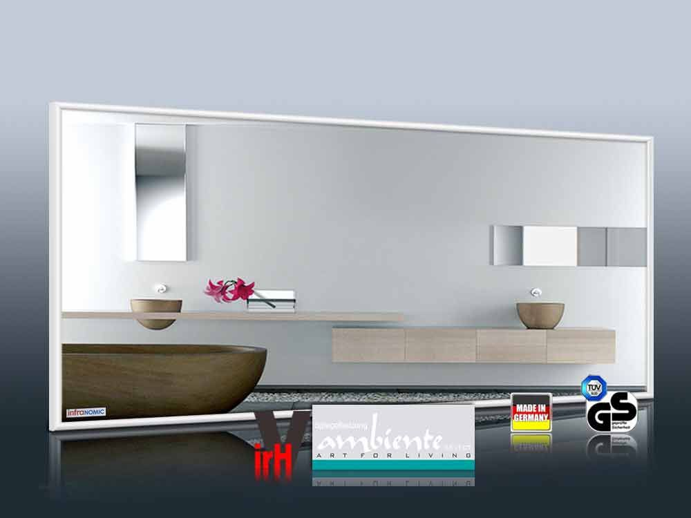 infrarot spiegelheizung bad 320 watt m10 wei. Black Bedroom Furniture Sets. Home Design Ideas