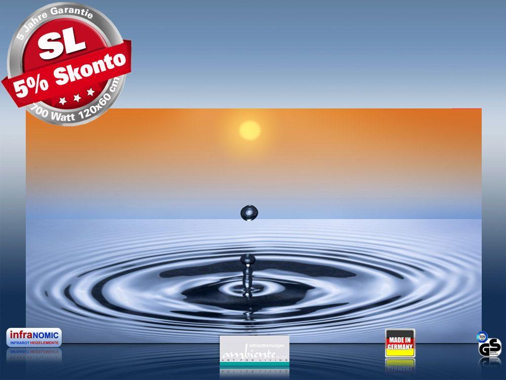 Infrarot Bildheizung 700 Watt Rahmenlos slim-line Wassertropfen-II