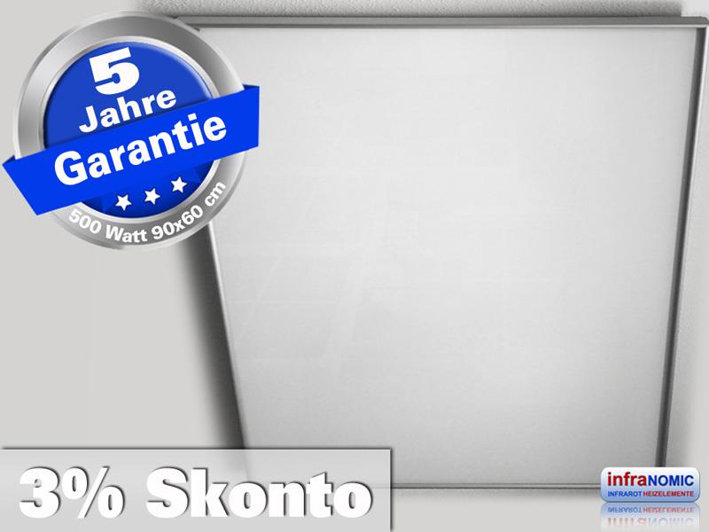 Infrarot Deckenheizung 500 Watt ESG Glas weiß 90x60 Rahmen M10