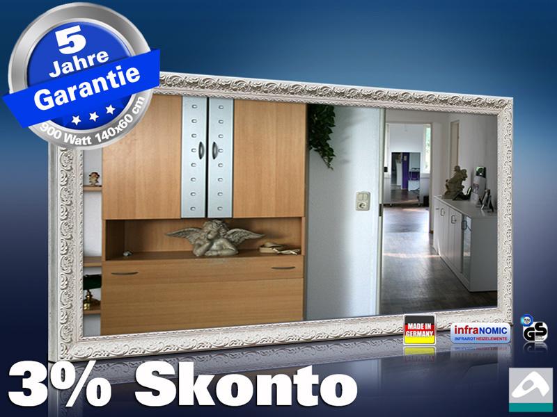 spiegelheizung 900 watt mit stilrahmen antik weiss. Black Bedroom Furniture Sets. Home Design Ideas