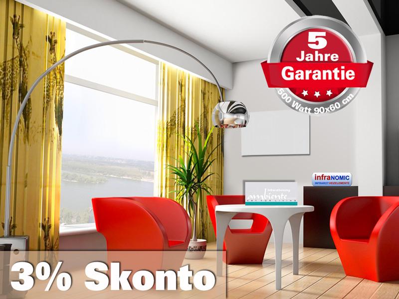 Infrarot Badheizung 500 Watt ESG Glas Rahmenlos weiß 90x60 slim-line