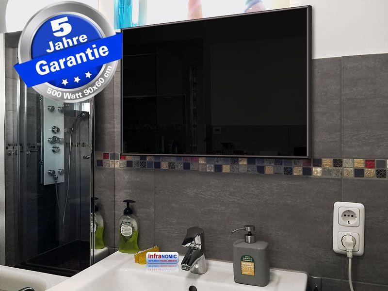Infrarotheizung schwarz Spiegelheizung Bad 500 Watt 90x60 M10S