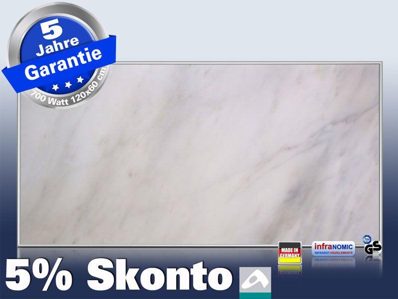 Infrarot Bildheizung 700 Watt 120x60 M10-SL Marmor weiß